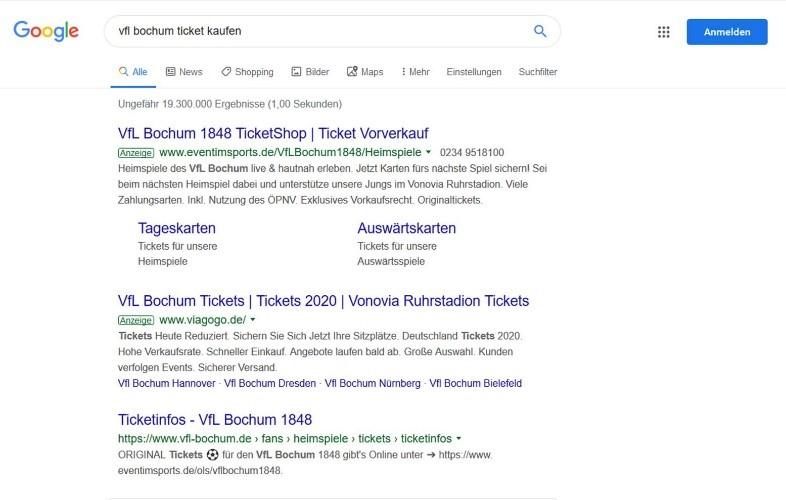 Suchergebnisse Google VfL Bochum