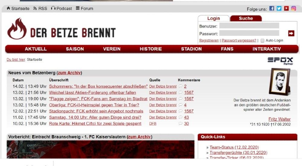 Screenshot der Website der-betze-brennt.de
