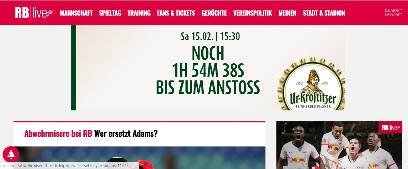 Screenshot der Website rblive.de