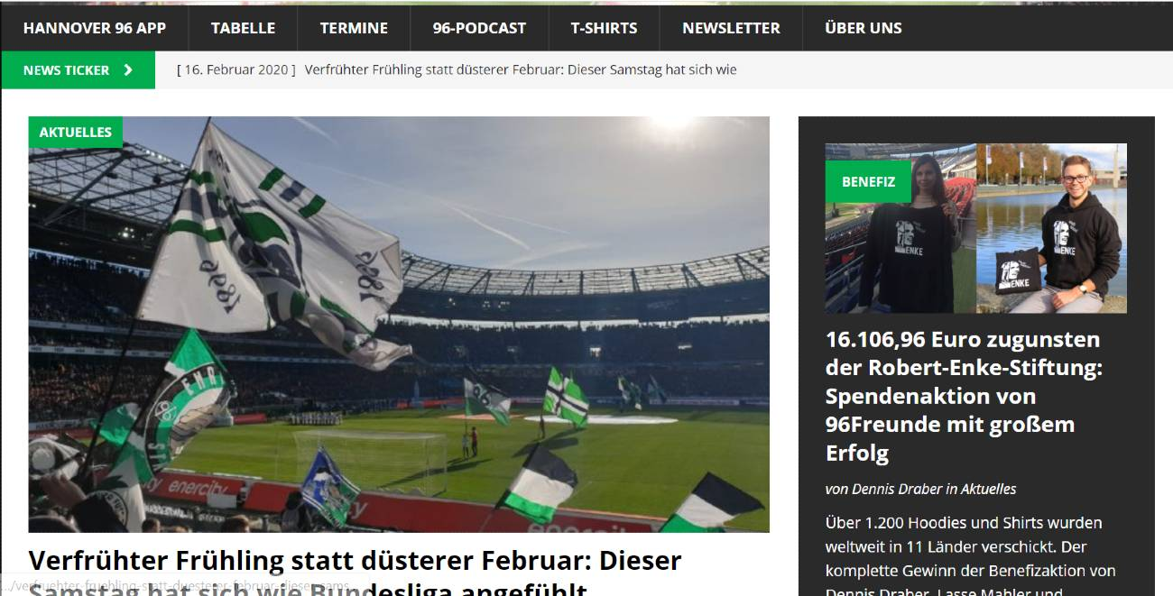 Screenshot der Website 96freunde.de