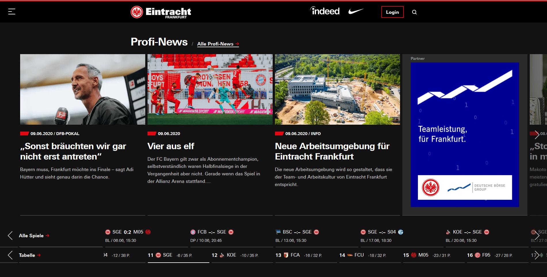 Startseite Website Eintracht Frankfurt