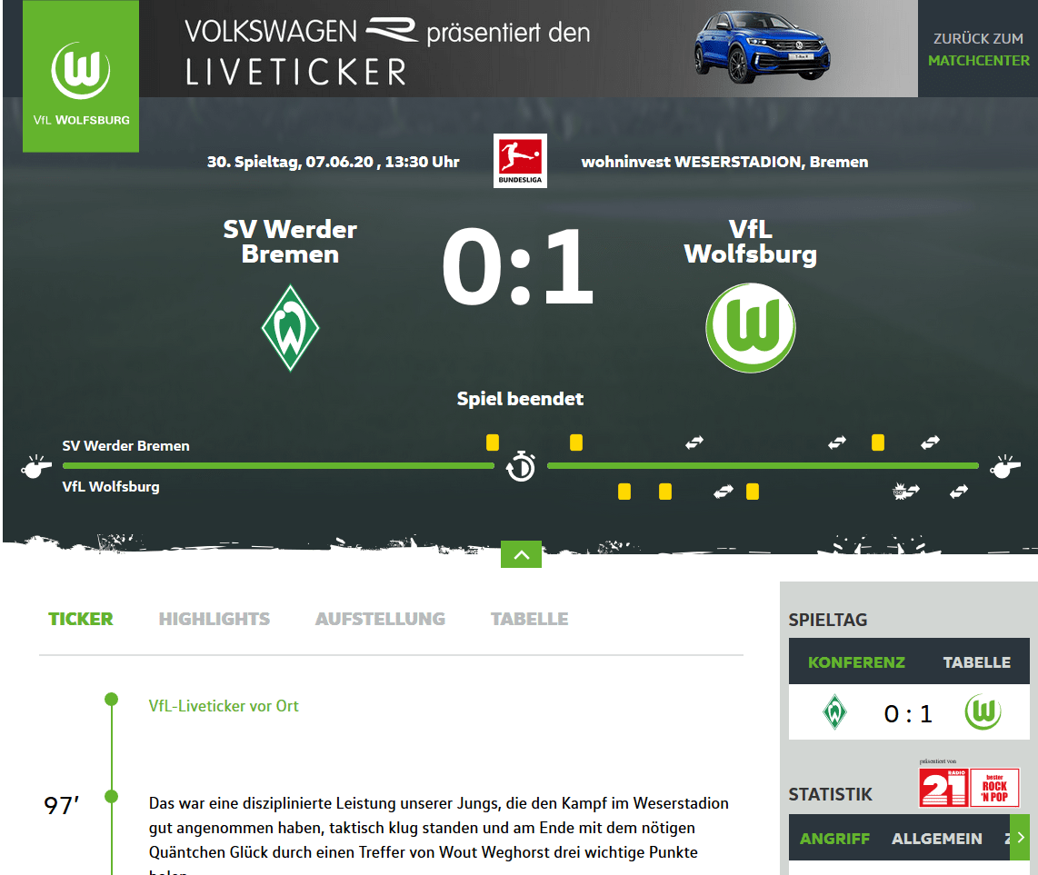 Liveticker Website VfL Wolfsburg