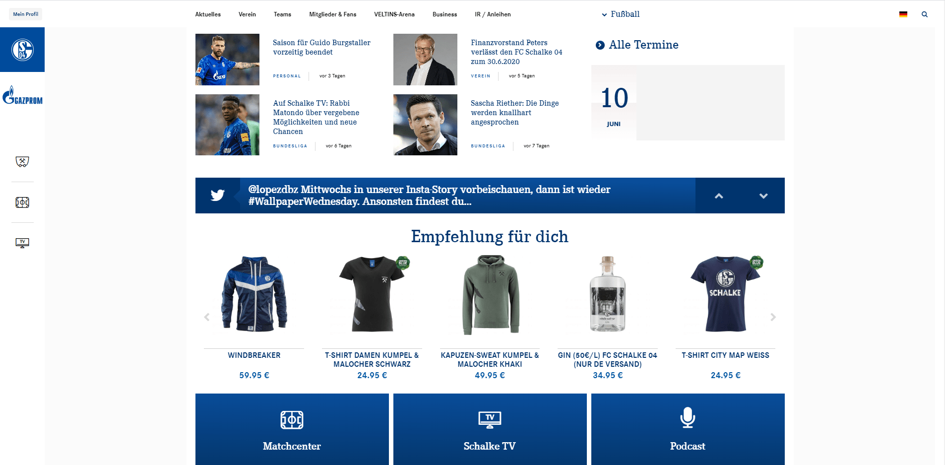 Website Schalke 04