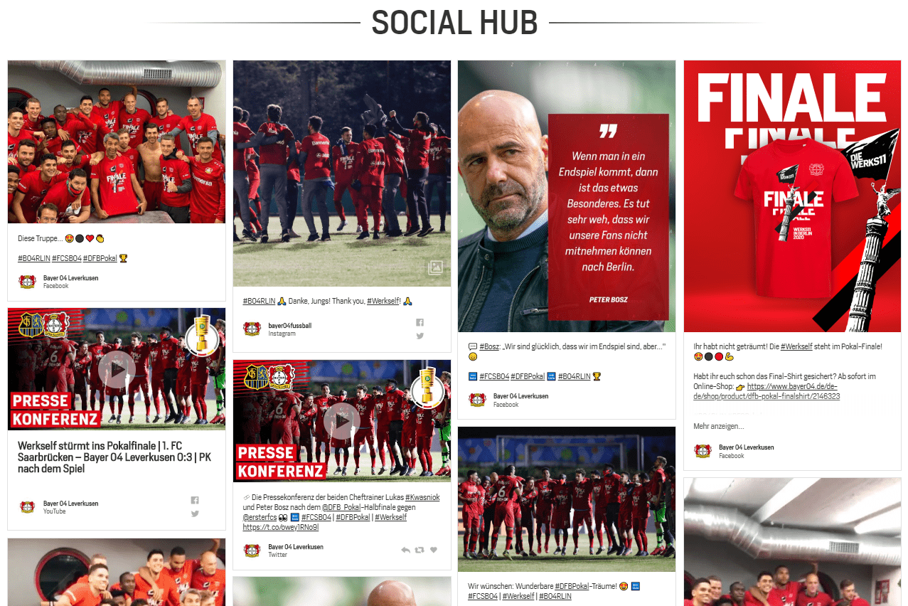 Social Hub auf der Website Bayer 04 Leverkusens