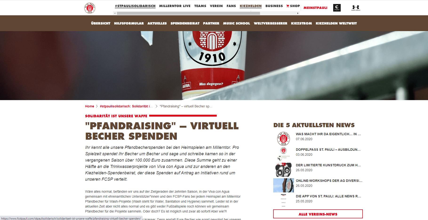 Newsartikel auf der Websites des FC St. Pauli