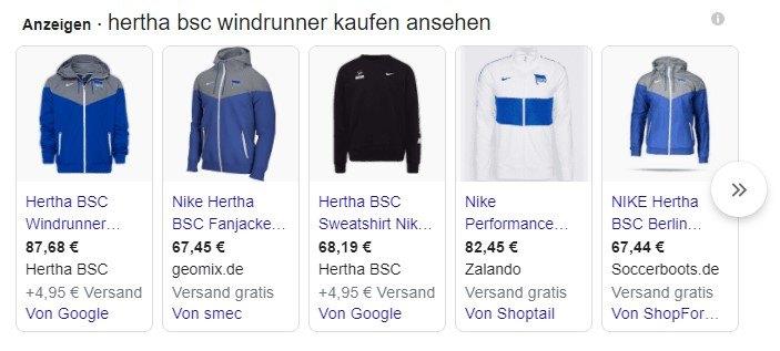Screenshoot von Hertha BSC Windrunner Jacken bei Google