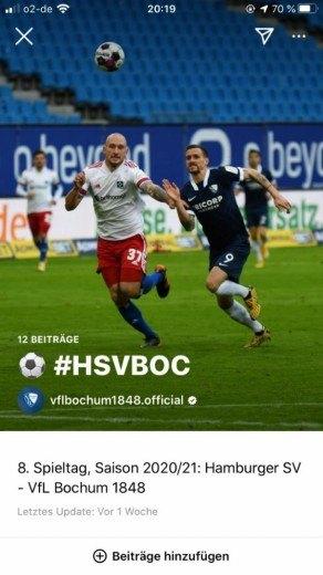 Instagram Story vom VfL Bochum 1848 zum 8. Spieltag gegen den Hamburger SV