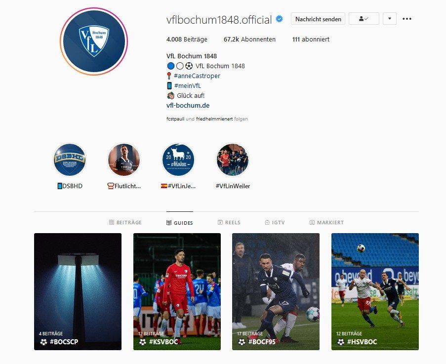 Instagram Profil vom VfL Bochum 1848