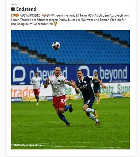 Instagram Post vom VfL Bochum 1848 zum 8. Spieltag gegen den Hamburger SV