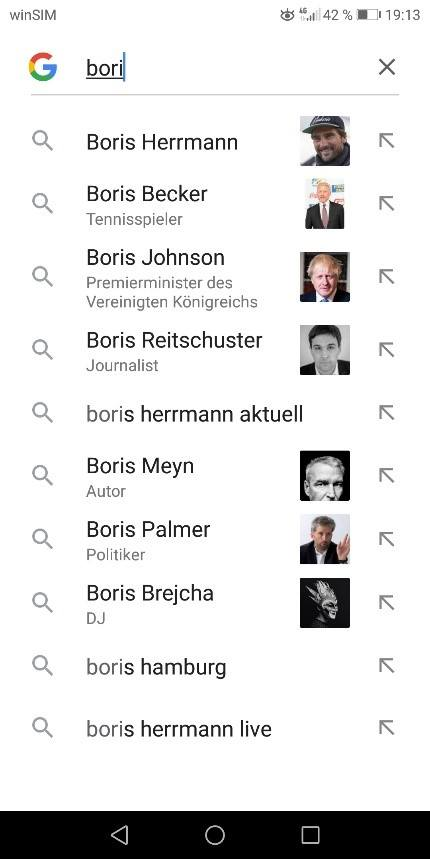 Screenshot der Google Suche mobil