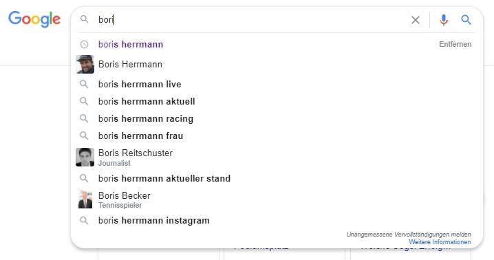 Screenshot der Google Suche Desktop