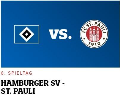 Spieltagsanzeige Hamburger SV gegen FC St. Pauli
