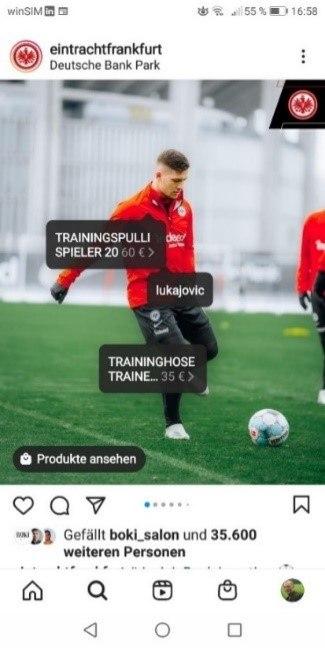 Eintracht Frankfurt Instagram Post mit Social Shopping Beispielen