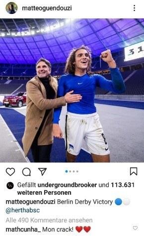Instagram Post von Hertha BSC Profi Guendouzi