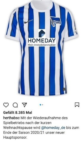 Hertha BSC Berlin Instagram Post zum Verkauf des Heimtrikots