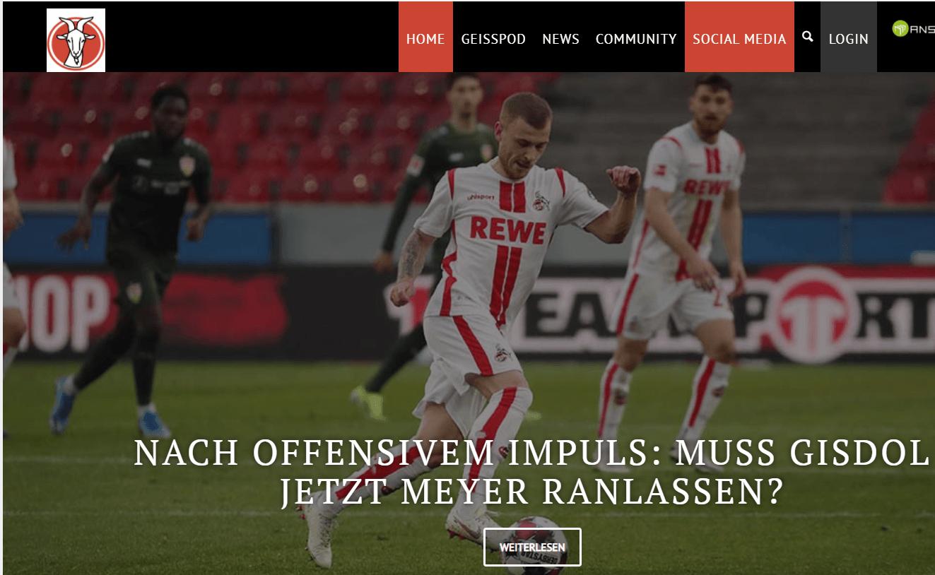 Website des Fußballblogs geissblog.koeln