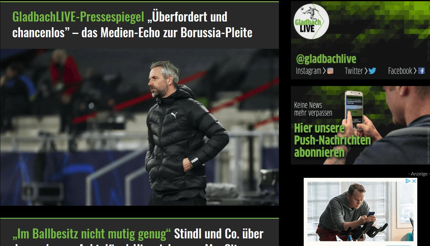 Website des Fußballblogs gladbachlive,de