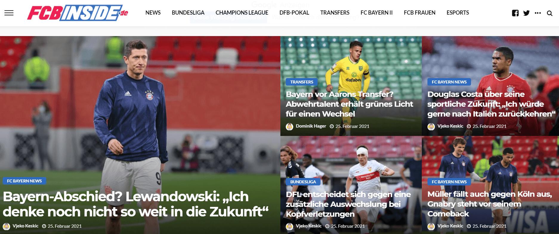 Website des Fußballblogs fcbinside.de