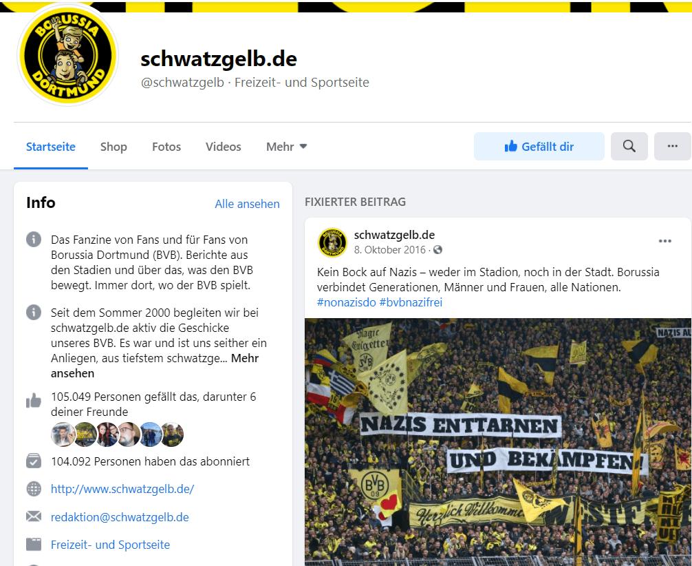 Website des Fußballblogs schwatzgelb.de