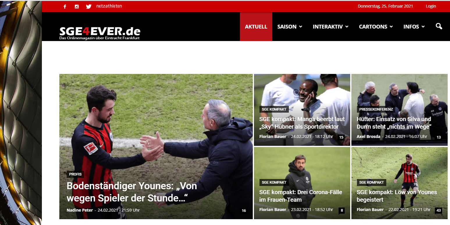 Website des Fußballblogs sge4ever.de