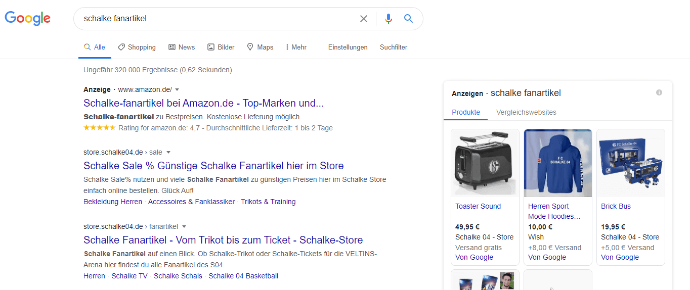 """Google Suchergebnisse zu dem Schlagwort """"schalke fanartikel"""""""