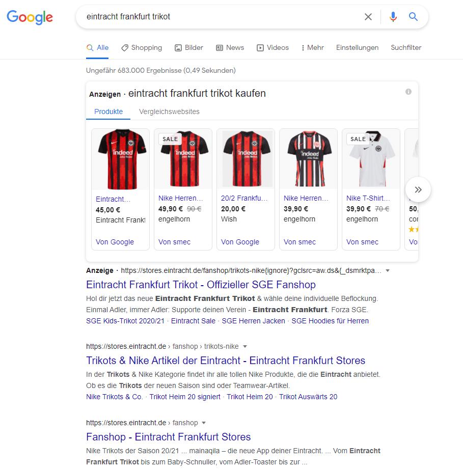 Google Suchergebnisse zu Eintracht Frankfurt Trikot