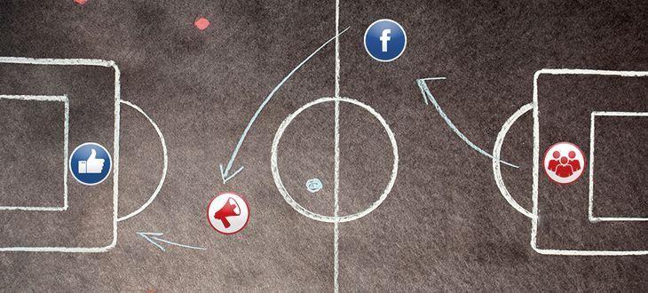 Fußballfeld mit Social-Symbolen